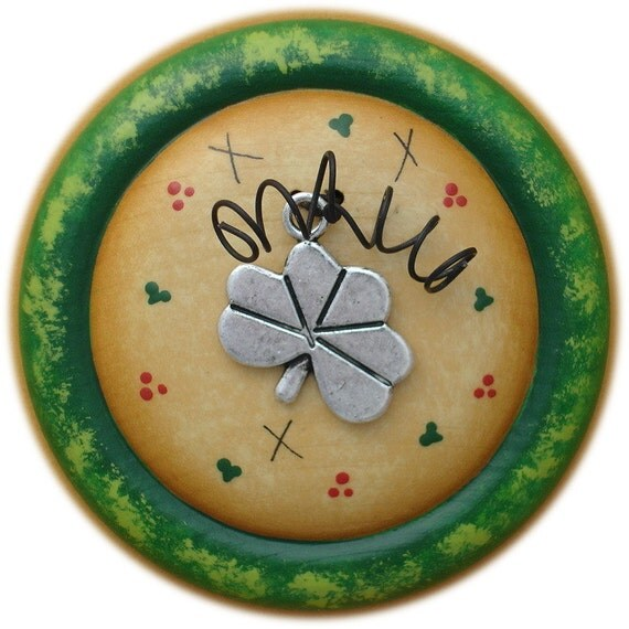 St. Patrick's Lucky Shamrock Charm Button Pin/Magnet Hand Painted Wood