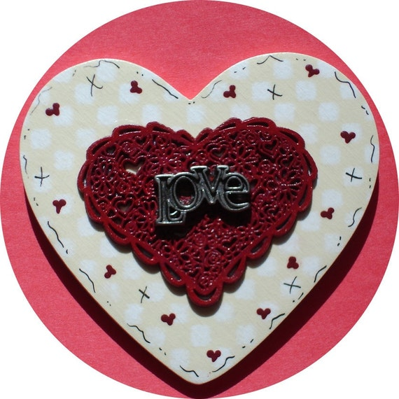 LOVE Lace Valentine Pin Hand Painted Wood/Pewter