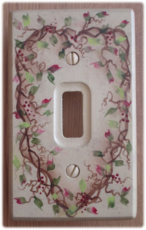 Switch Plate Cover Heart Country Vine Leaves Hand Painted Burgundy Wood