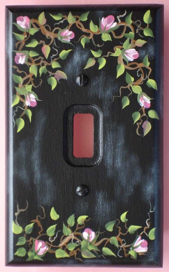 Items Similar To Light Switch Plate Cover Pink Rose Vine