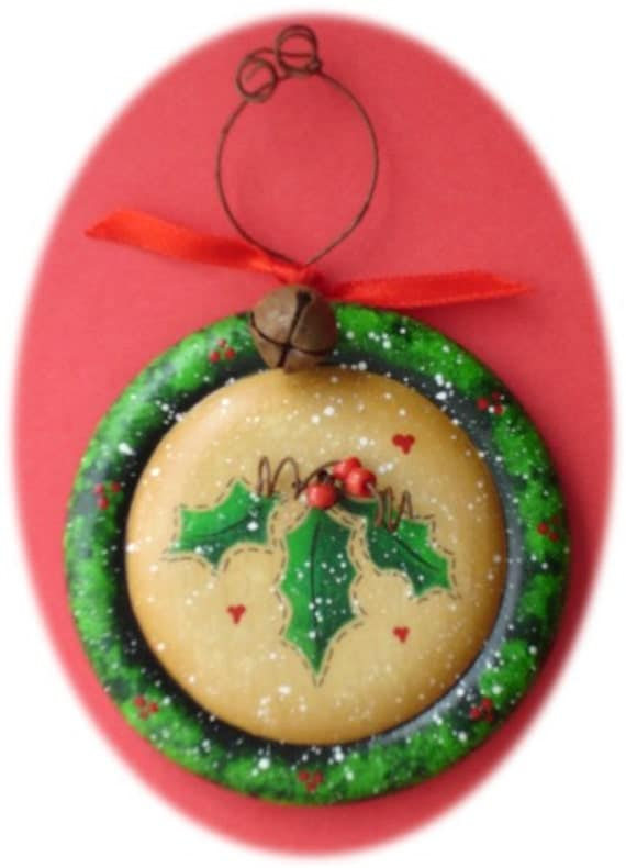 Rustic Christmas Wreath Hand Painted Wood Ornament