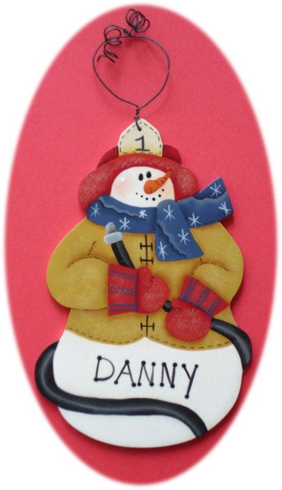 Personalized Fireman Ornament Red Blue Christmas Hand Painted Wood