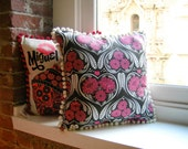 Cottage Chic Pillow in Pink & Black Heart Print :  South American Influence