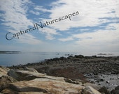 Rocky Shores New Hampshire Ocean View with Rocks 5 x 7 Matted Photograph