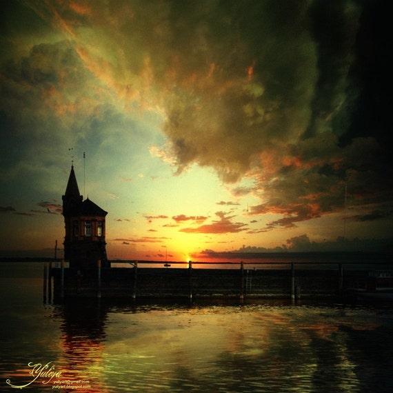 Sunset on the Lake - twilight photo Europe landscape dreamy whimsical print boho glamor home decor valentine gift for her him woman unisex
