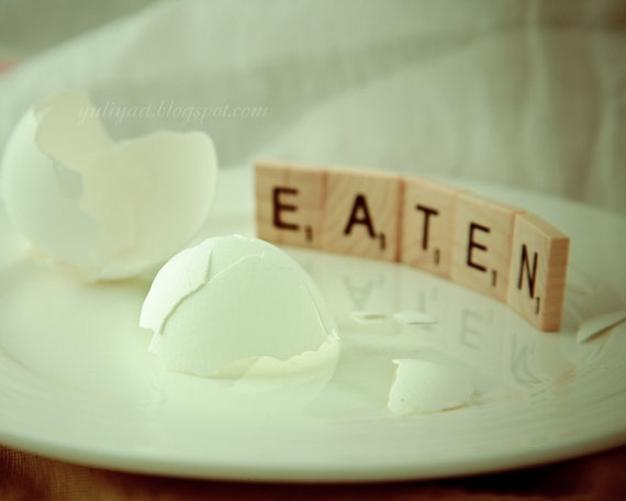 Eaten - photography egg wall art home decor scrabble word eat food picture gag gift prank geekery