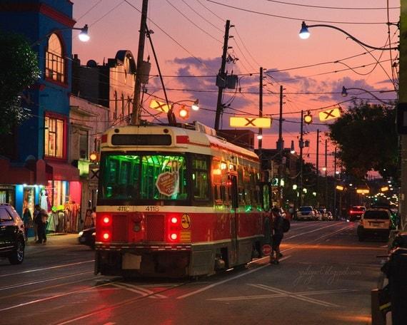 Sunset Streetcar - fine art photo print cityscape city lights urban tram twilight sunrise dusk dawn evening romantic decor gift poster Oht