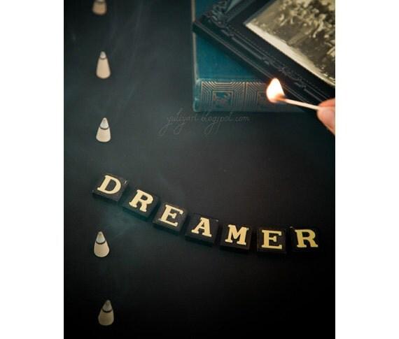 Dreamer - conceptual whimsical fine art photograph chalkboard black dark retro gift for him unisex dude man steampunk twilight decor picture