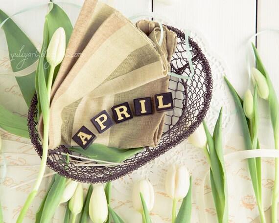 April, spring romantic photograph print shabby chic white tulip flower floral botanical gift for her glamor sweet pastel zodiac Aries Taurus
