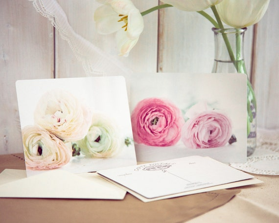 Ranunculus postcards - dreamy flower photography romantic gift for her nursery decor luxury statement pale pink botanical sunshine white