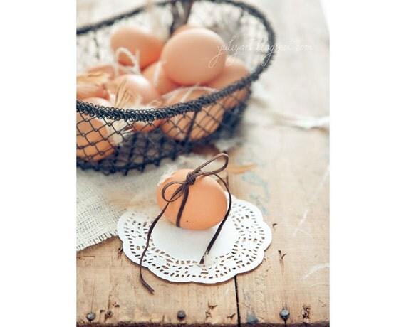 Eggs: Easter photograph fine art photo print kitchen decor gift idea for her hostess chef cook food rustic romantic brown orange sepia white