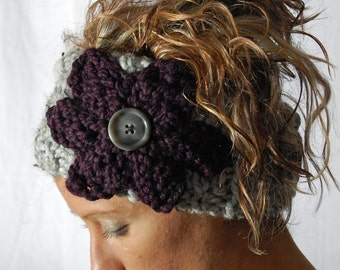 Chunky KNIT headband - ear warmer - head wrap - neck warmer - with knit flower and button closure - lamb's wool - marble grey / eggplant