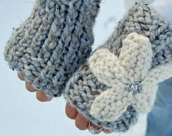 Knit fingerless gloves - hand warmers - arm / wrist warmers - texting gloves with flower - choose your colors - all season