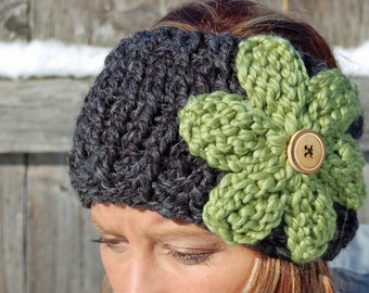 Flower ear warmer / headband / neck warmers - 2 HEADBAND SET - Choose your colors - my top sellers - button closure