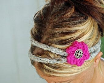 Hairband - KNIT FLOWER HEADBAND - 2 strand hair band - button closure - all season accessory -  fall winter holiday fashion