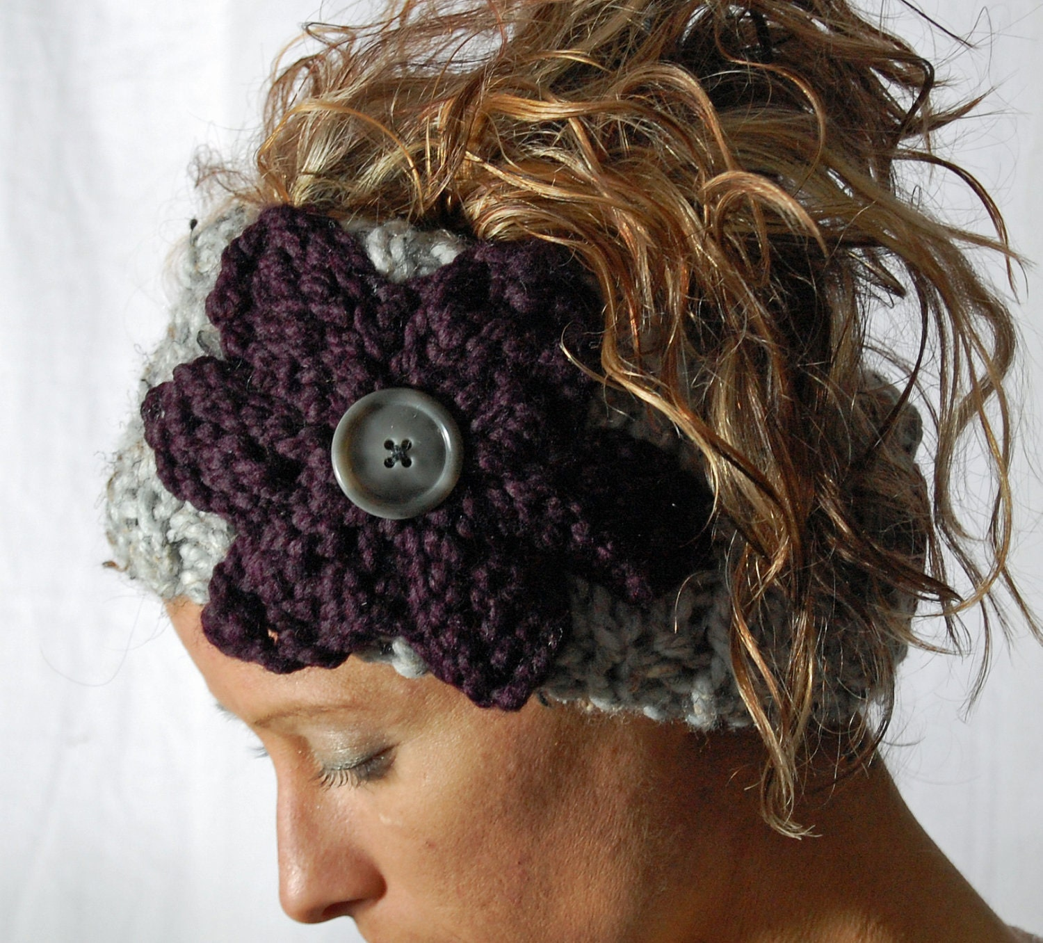Knit Pattern Headband With Button Closure : KNIT headband ear warmer head wrap neck warmer knit