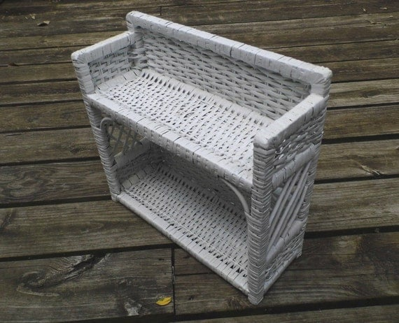 Items Similar To Vintage White Wicker Wall Shelf Shelves Great For Bathroom On Etsy