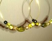 Green & Gold Shiny Hoops