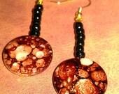 Red & Black Marble Swirl Earrings