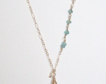 Aquamarine, March birthstone, blue ice necklace/14kt gold filled
