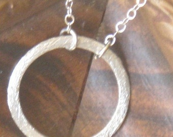 Sterling silver with texture, circle of light, circle of unity, everyday necklace