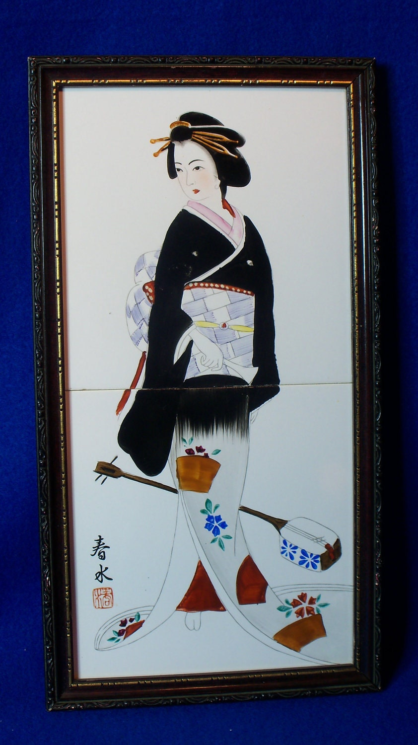 Vintage Hand Painted Royal Sealy Ceramic Tile Art Japanese