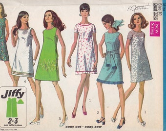 Simplicity 8231 Misses' Dress pattern, Jiffy, Size 10, Bust 32 1/2, Vintage 1969, Retro, Casual Dress, Jiffy Pattern, Cute, Party Dress