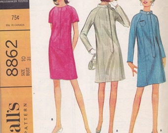 McCall's 8862 Long or Short Sleeve Slim Fit  Dress Pattern, Size 10 Misses, Bust 31""