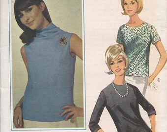 "Butterick 3885 Quick 'n Easy Blouse in Three Versions Pattern, UNCUT, size 12, Bust 32"", Vintage 1960's, Retro, Easy, Back Zipper, Top"