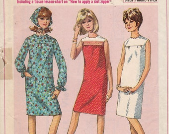 Simplicity 6371 Dress and Triangle Scarf  Pattern, Sub-Teen, Size 10s, Bust 29, Vintage 1965, Retro, Dress, Simple To Sew,How To Sew Pattern