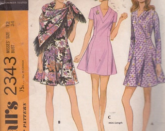 McCall's 2343 Misses Dress and Scarf Pattern, SIze 12, Bust 34