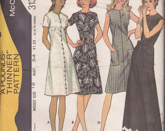 """McCall's 3133, Size 12, Bust 34"""",  Misses' Dress Pattern, UNCUT, Recommended for Knits,Vintage 1972, Recommended for Knits Only, Maxi Dress"""
