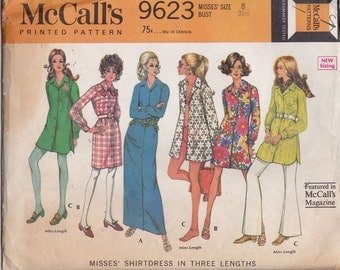 "1969 McCall's 9623 MIsses' Shirtdress in Three Lengths Pattern, UNCUT, Size 8, Bust 32 1/2"", Vintage 1969, Cover Up, Retro, Dress"