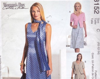 McCall's 3152 Misses'/Misses' Petite Dress in Two Lengths, Unlined Jacket and Scarf Pattern, UNCUT, Size 10-12-14, 3 Hour Dress