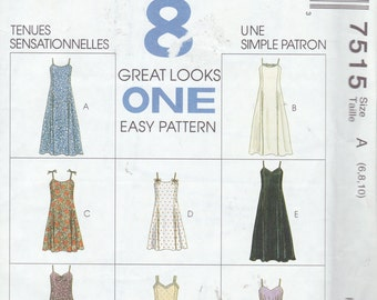 McCall's 7515 Misses' Dress in Two Lengths Pattern, UNCUT, SIze 6-8-10, Sundress, 8 Great Looks