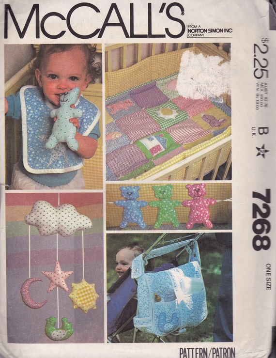 Vintage 1980s McCalls 7268 Baby Package Pattern By