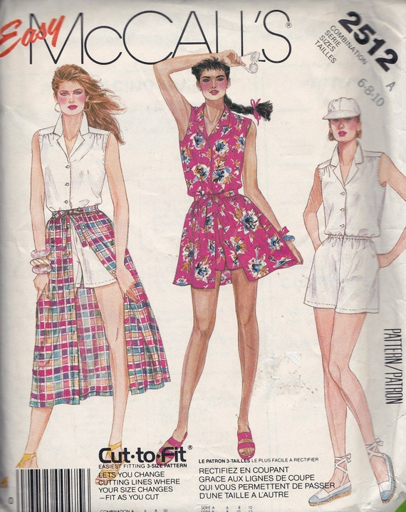McCall's 2512 Misses' Jumpsuit and Skirt Pattern, UNCUT, Size 6-8-10