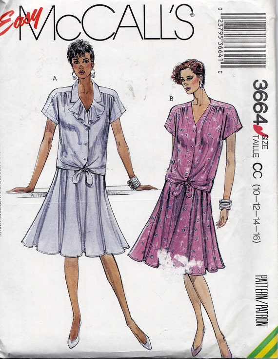 McCall's 3664 Misses' Blouse and Skirt Pattern, UNCUT, Size 10-12-14-16
