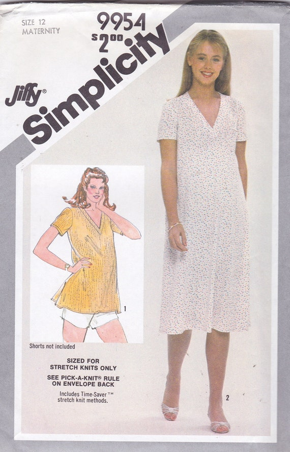 Simplicity 9954 Maternity Jiffy Pullover Dress or Top in Misses Sizes Pattern, UNCUT, Size 12, Stretch Knits Only