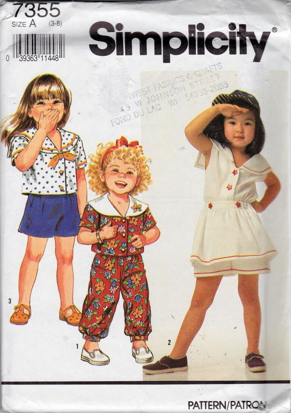 Simplicity 7355 Child's Top, Cropped Pants and Shorts Pattern, UNCUT, Factory Folds, Size All, 3-4-5-6-7-8