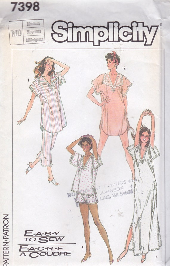 Simplicity 7398 Misses' Nightgown and Pajamas in Two Lengths Pattern, UNCUT, Size Medium 14-16