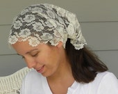 Sparkling White Lace Extra Wide Headband Convertible Headcovering