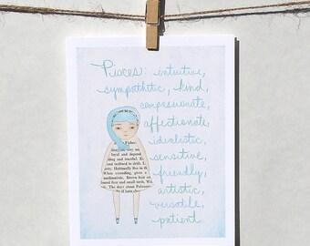Pisces card Astrology card Zodiac card Astrological sign card