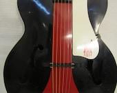 Vintage 1950s Harmony Acoustic Guitar Custom Color Black Red Y Design Stripe Classy Cool Rare Bird