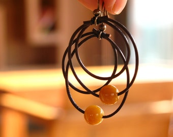 Karma- What goes around comes around, agate & leather earrings
