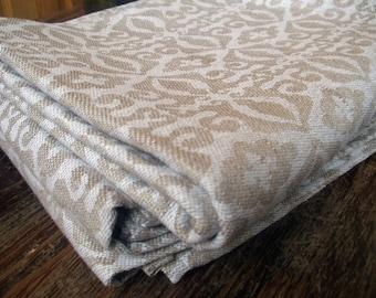 Hand Towel wash cloth Bath Pure Linen flax Natural Ecru Damask Jacquard Reversible