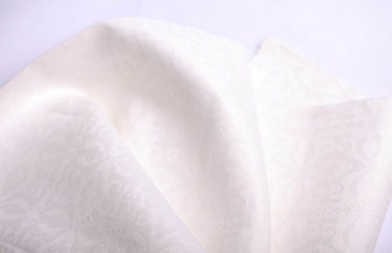 White Linen Fabric damask weddings Eco-friendly - last more 1/2 yard