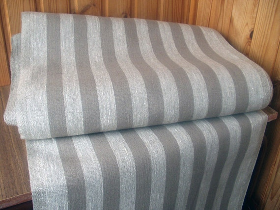 Decorator fabric Upholstery 100% Pure Linen striped Gray Dark Heavy Weight New ECO-friendly - 1/3 yard