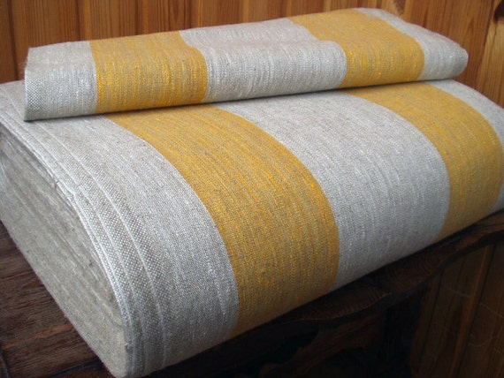 Decorator fabric Upholstery 100% Pure Linen Canvas Ecru Grey Yellow striped Heavy Weight  New ECO-friendly - Last 2 yards