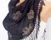 cotton & lace spring summer black scarf-H
